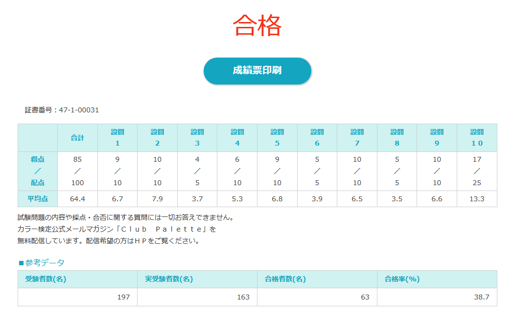 カラーコーディネーター1級_成績表