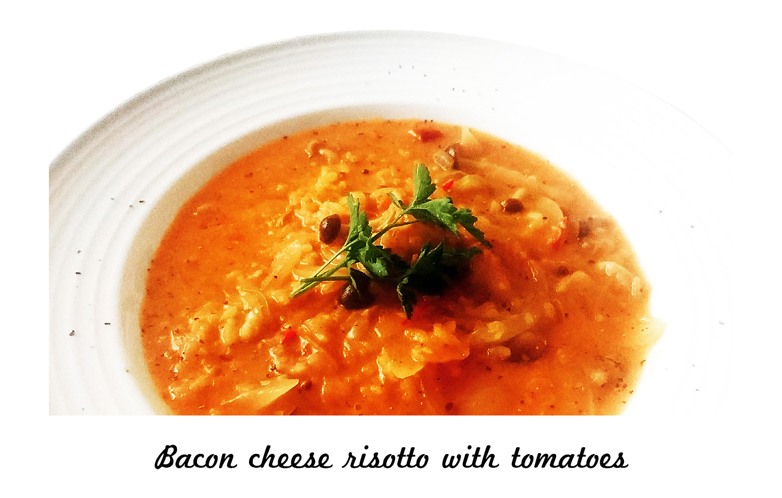 トマトときのことベーコンのチーズリゾット