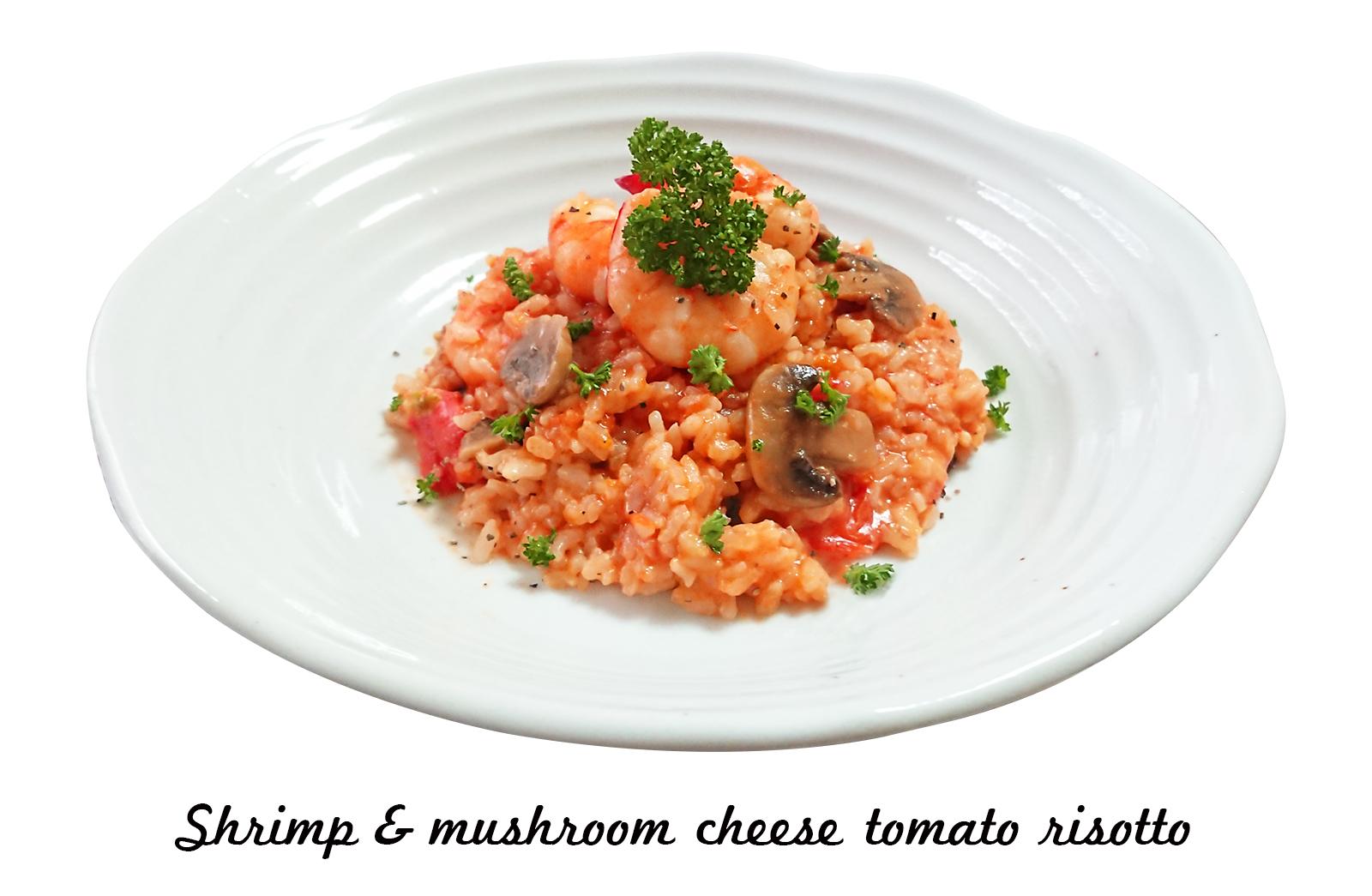 海老とマッシュルームのチーズトマトリゾット